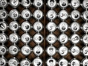 Full frame of aluminium cans in rows, view from above