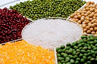 Rice,green bean,red bean,mung bean,corn and soybean
