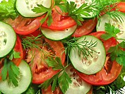 Tomato salad with cucumber