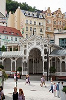The Colunnades, are architectural structures that home the fountains of medicinal waters, of public use  Karlovy Vary, Bohemia, Czech Republic, Europe