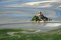 France, Normandy, Manche, bay of Mont-Saint-Michel on the world heritage list of UNESCO, aerial view of the Mont-Saint-Michel and the polders