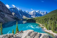Moraine Lake in the Valley of the Ten Peaks in Banff National Park in the Canadian Rockies in Alberta Canada