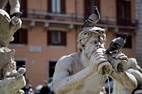 Pigeons on a fountain statue at Piazza Navona
