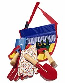 A colorful bag with children´s gardening tools