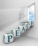 peace red word conceptual door