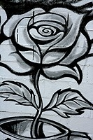 Black and white rose street graffiti detail