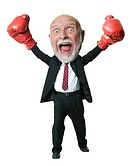 Portrait of a businessman wearing boxing gloves