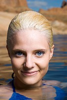 WR0890259 Portrait of a young woman in a lake