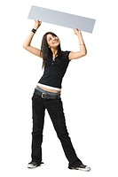 Young woman holding up a blank sign
