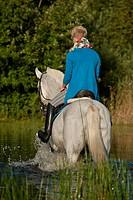 Young woman riding a Hanoverian horse through a lake