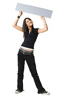 Teenage girl holding up a blank sign