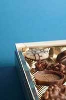 Detail of chocolates in a box