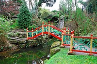 A bridge over the lake in the Chinese Garden at Biddulph Grange, Stoke-on-Trent, North Staffs , Staffordshire, England, UK