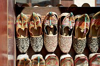 Arabian slippers for sale in the Bur Dubai Souk market in Dubai