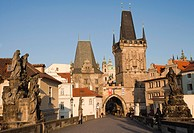Charles Bridge, Malá Strana Tower, looking towards the Malá Strana district, Prague, Bohemia, Czech Republic, Europe