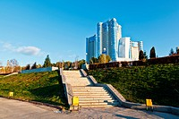 Stella Rook and New Building on Volga River in Samara, Russia