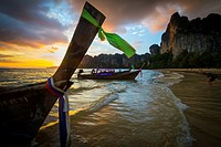 Sunset on the beach  Railay  Krabi province, Thailand