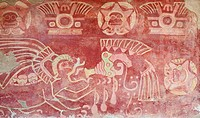 Painted wall in the interior of a temple in Teotihuacan