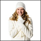 young woman in white winter clothes.