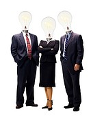 Three businesspeople with light bulbs instead of heads