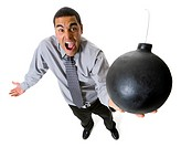 Man holding a cannonball