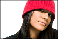Close_up of woman in red hat