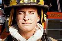 Portrait of a firefighter smiling