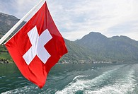 Swiss flag boat