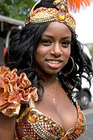 Young woman in carnival costume. Portrait. Notting Hill Carnival. Notting Hill. London. England. UK.