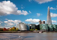 England. London. City Hall with the Shard building by the River Thames.