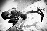 Mountaineer, mountaineering, alpinist, Alpinism, Zugspitze, Jubiläumsgrat, winter, snow, b/w,