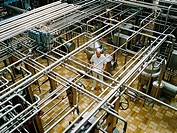 A plant for processing raw milk. The production hall has centrifuges, heaters and separators for the initial milk processing stages, namely centrifugi...