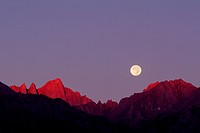 Full Moon Closes on Mount Russell at Dawn