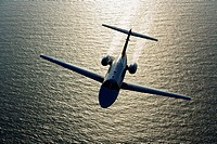 Business Jet Aerial Over Water