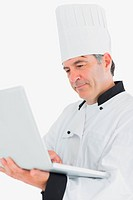 Close_up of chef using laptop