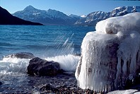 Ice formation on Abraham Lake , North Saskatchewan River, Bighorn Wildland Recreation Area, Highway 11, Rocky Mountains, Alberta, Canada