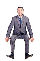 Man sitting on virtual chair