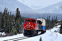 A Canadian National freight train pulling a load of containers on a snowy winters day near the hamlet of Brule in the rocky mountains of Alberta Canad...