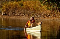 Mature woman paddles canoe with dog, Oxtongue Lake, Muskoka, Ontario, Canada.