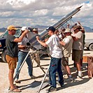 The crew of High Expectations prepares their rocket for launch at BALLS, an experimental rocketry event in the Black Rock Desert of northern Nevada.