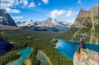 Overlooking Lake O´Hara and Mary Lake, from the Opabin Plateau, , Yoho National Park, British Columbia, Canada