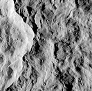 Close_Up of Crater on Surface of Rhea