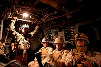 A view, at night, inside a Marine Corps MV_22 Osprey during a combat operation in the Helmand Province, southern Afghanistan.