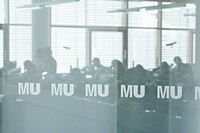View through labeled pane to students during a course, Biozentrum of the Ludwig_Maximilians_University LMU, Martinsried, Planegg, Bavaria, Germany