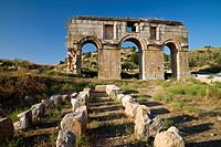 Triple arched gateway of ancient Patara, Triumphal arch of Metius Modestus, lycian coast, Mediterranean Sea, Turkey
