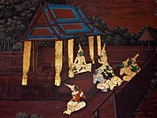Vintage traditional Thai style art painting on temple.