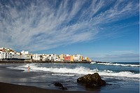 Beach under clouded sky, Playa Jardin, Puerto de la Cruz, Tenerife, Canary Islands, Spain, Europe