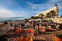 Beach at Carlton hotel at the Croisette, Cannes, Cote d´Azur, South France, Europe