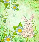 Cartoon rabbit with daisies on green grunge background