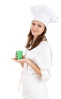 female chef with green cup